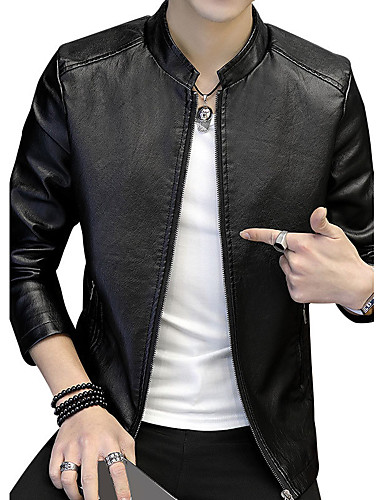 Men's Daily / Going out / Club Keep Warm / Style / Street chic Spring &  Fall / Autumn / Fall Plus Size Regular Jacket, Solid Colored / Fashion / Leather Stand Long Sleeve Cotton / Polyester / Spandex