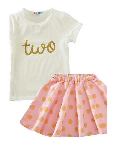 Girls' Polka Dot Clothing Set, Cotton Summer Short Sleeves Blushing Pink Light Green