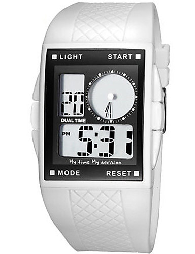 Men's Fashion Watch Digital Water Resistant / Water Proof Rubber Band Black White