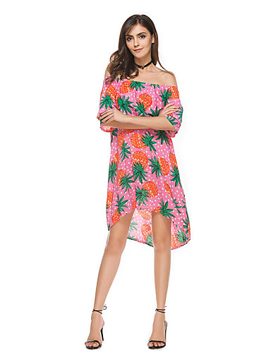 Women's Holiday Going out Casual/Daily Club Beach Sexy Street chic Sheath Dress,Print Boat Neck Asymmetrical Short Sleeves Polyester