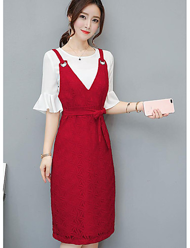 Women's Other Casual Simple Other Spring Summer Shirt Dress Suits,Solid Round Neck 1/2 Length Sleeve