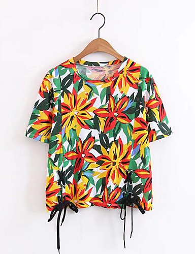 Women's Casual/Daily Going out Simple Sexy T-shirt,Solid Floral Print Round Neck Short Sleeves Cotton Others