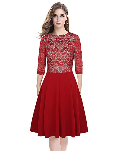 Womens Elegant Sexy Lace See Through Tunic Casual Club Bridesmaid Mother of Bride Dress Skater A-Line Party Dress D0611