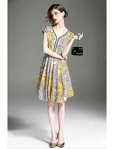 QIN QIN Women's Vintage Sophisticated A Line Loose Dress Print V Neck