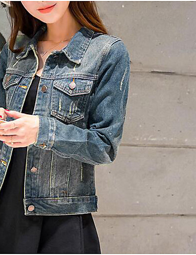 Women's Daily Modern/Contemporary Spring Denim Jacket,Solid Shirt Collar Long Sleeve Short Cotton Others