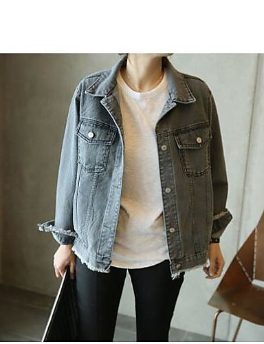 Women's Daily Modern/Contemporary Spring Jacket,Solid Shirt Collar Long Sleeve Regular Cotton Others