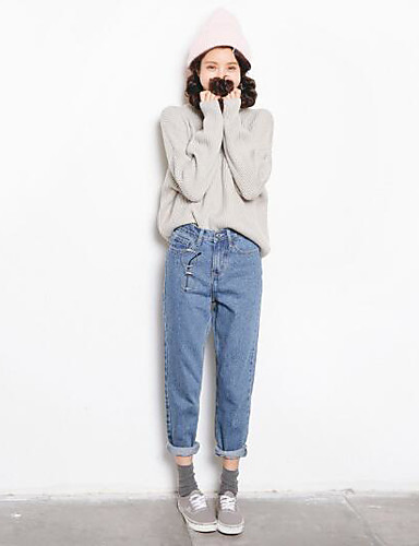 Women's High Rise Micro-elastic Skinny Jeans Pants,Simple Skinny Solid