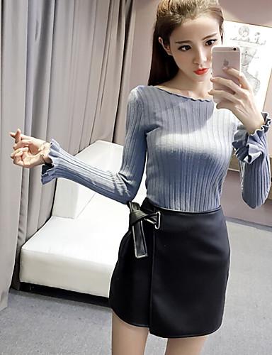 Women's Long Sleeves Wool Cardigan - Solid
