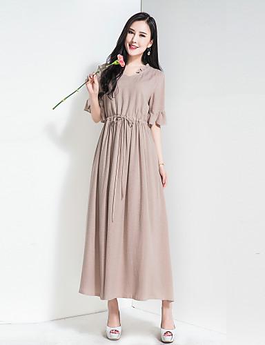 Mulheres Solto balanço Vestido Sólido Decote V Cintura Alta Longo