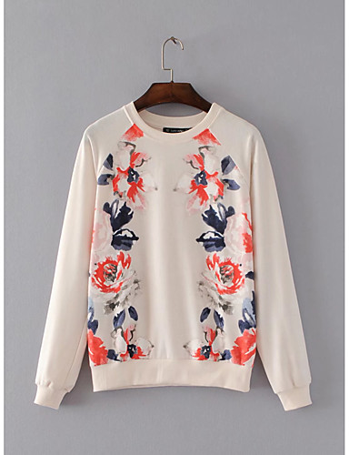Women's Maternity Going out Daily Casual Cute Active Sweatshirt Print Round Neck Micro-elastic Cotton Long Sleeve Winter Spring
