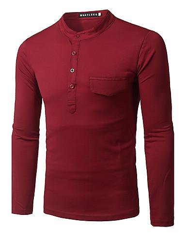 Polyester Langermet,Rund hals T-skjorte Ensfarget Gatemote Fritid/hverdag Herre