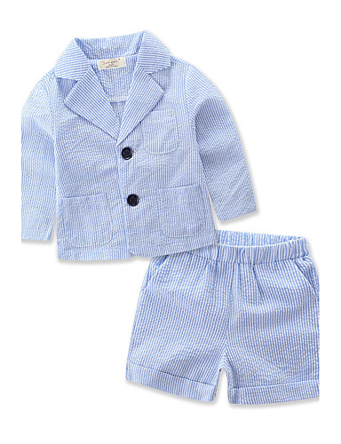 Boys' Striped Stripe Clothing Set, Cotton Polyester Summer Long Sleeves Stripes Blue