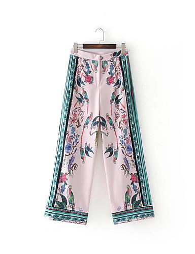 Women's High Rise Micro-elastic Wide Leg Pants,Street chic Print Cotton Summer