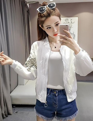 Women's Daily Casual Contemporary Summer Jacket,Solid Round Neck Long Sleeve Short Polyester