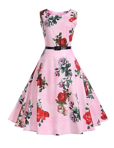 Per donna Per eventi Ufficio Vintage Cotone Fodero Swing Vestito Fantasia  floreale Al ginocchio 3d44d48ef9c