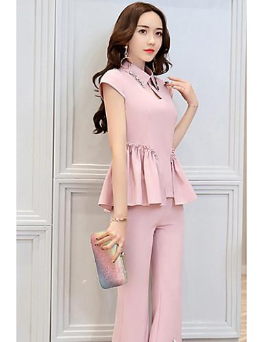 Women's Daily Modern/Comtemporary Summer Tank Top Pant Suits,Solid Shirt Collar Sleeveless