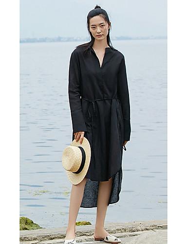 Mulheres balanço Vestido Sólido Decote V Assimétrico