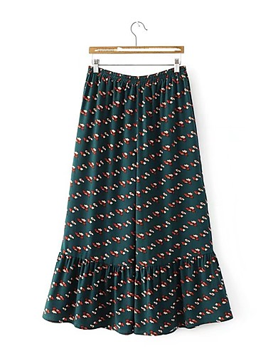 Women's Mid Rise Micro-elastic Wide Leg Pants,Street chic Print Cotton Spring Summer