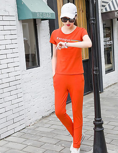Women's Sports Cotton T-shirt - Solid Colored Pant / Summer