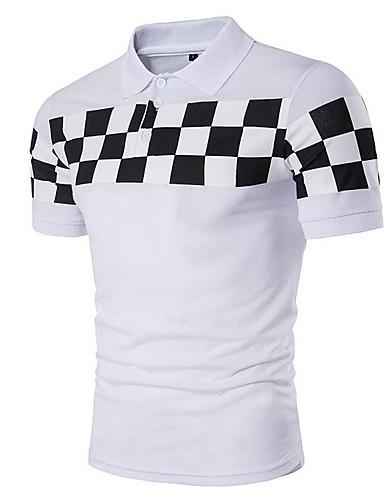 Bomull Kortermet,Skjortekrage Polo Rutet Enkel Fritid/hverdag Herre