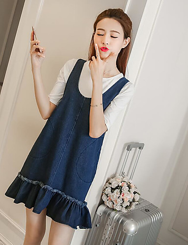 Women's Daily Casual Denim Dress,Solid Strap Above Knee Sleeveless Polyester Spring Mid Rise Micro-elastic Medium