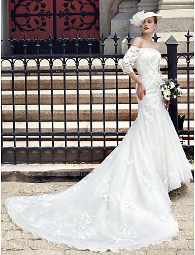 Sereia Ombro a Ombro Cauda Catedral Renda Tule Vestidos de noiva personalizados com Apliques Botões de LAN TING BRIDE®