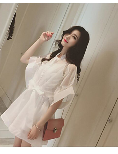 Women's Daily Going out Tunic Dress,Solid Stand Above Knee Half Sleeves Cotton Polyester Spring Summer Mid Rise Stretchy Medium