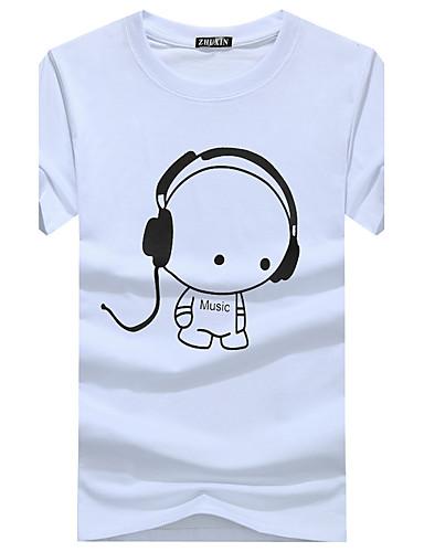 Men's Basic Cotton Slim T-shirt - Graphic Print Round Neck / Short Sleeve