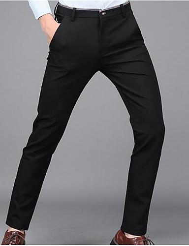 Men's Mid Rise Inelastic Chinos Pants,Simple Slim Solid