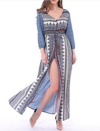 Mulheres Algodão Solto Vestido - Estampado Decote V Longo / Verão / Com Fenda