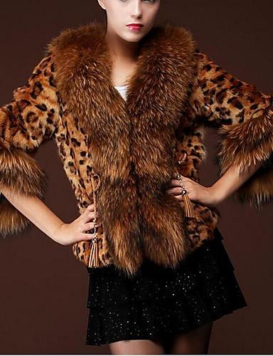 Γυναικεία Καθημερινά Glam Χειμώνας Κοντό Γούνινο παλτό 50665e1acd2