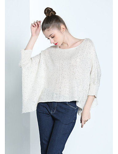 Women's Daily Going out Work Casual Solid Round Neck Pullover, Long Sleeves Fall Mohair