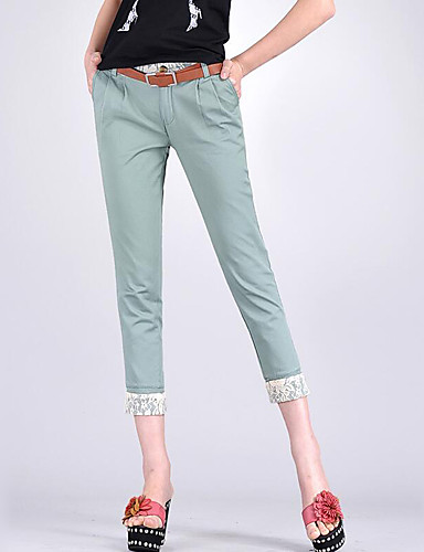 Women's Mid Rise Micro-elastic Skinny Pants,Street chic Harem Patchwork Solid
