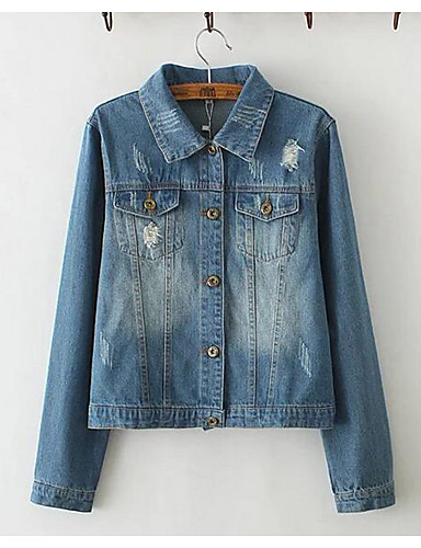 Women's Daily Casual Spring Fall Denim Jacket