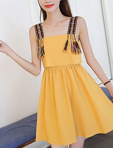 Women's Daily Going out Sexy A Line Dress,Solid Strap Above Knee Sleeveless Polyester Summer Fall Mid Rise Stretchy Medium