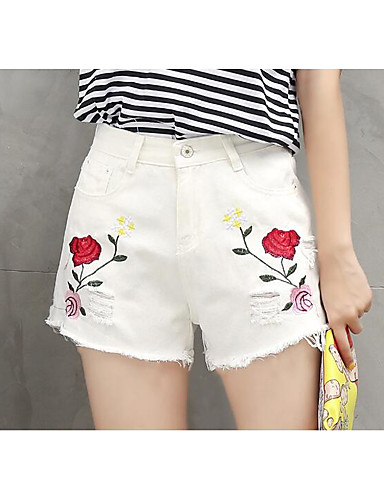 Women's High Rise Micro-elastic Shorts Pants,Vintage Wide Leg Embroidered Embroidered