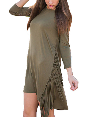 Women's Daily Going out Casual Sophisticated Sheath Dress,Solid Round Neck Above Knee 3/4 Length Sleeves Rayon Polyester All Seasons High