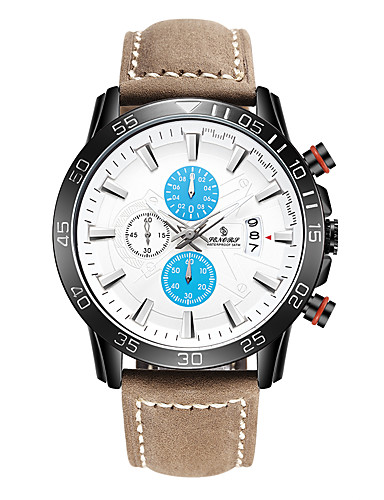 Men's Sport Watch Japanese Calendar / date / day Genuine Leather Band Fashion Brown
