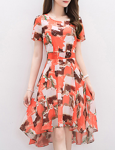 Women's Beach Holiday Going out Street chic Chiffon Swing Dress,Print Round Neck Knee-length Asymmetrical Short Sleeve Polyester Spandex