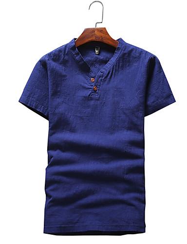Lin Solid Kortermet,V-hals T-skjorte Ensfarget Sommer Enkel Fritid/hverdag Herre