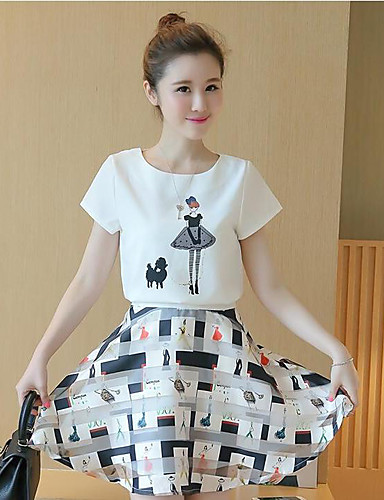 Women's Other Casual Casual Summer Shirt Skirt Suits,Geometric Round Neck Short Sleeve Cotton/nylon with a hint of stretch