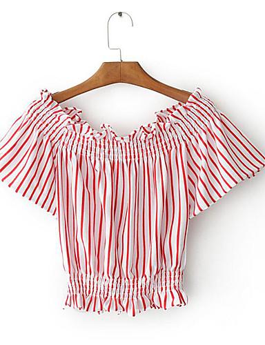 Naiset Lyhythihainen Venekaula-aukko Puuvilla Yksinkertainen Päivittäin Kausaliteetti T-paita,Raidoitettu