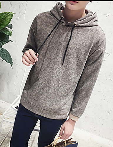 Men's Daily Hoodie Solid Hooded Micro-elastic Polyester Long Sleeve Fall