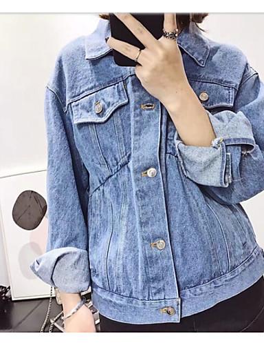 Women's Daily Casual Spring Denim Jacket,Solid Shirt Collar Long Sleeve Regular Cotton