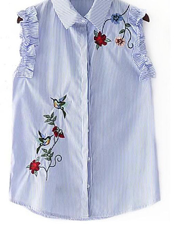 Women's Going out Casual/Daily Street chic Summer Shirt,Striped Embroidery Shirt Collar Sleeveless Cotton Medium
