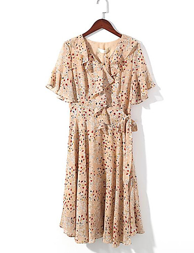 Women's Casual/Daily A Line Swing Dress,Floral V Neck Midi Short Sleeves Cotton Polyester Summer Mid Rise Micro-elastic Medium