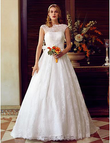 Linha A Ilusão Decote Cauda Escova Renda Vestidos de noiva personalizados com Caixilhos / Fitas de LAN TING BRIDE®