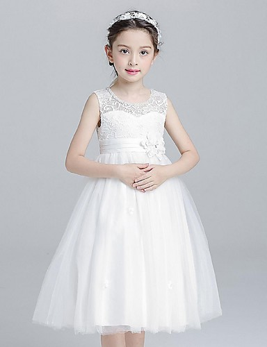 Ball Gown Knee Length Flower Girl Dress - Organza Sleeveless Jewel Neck with Flower