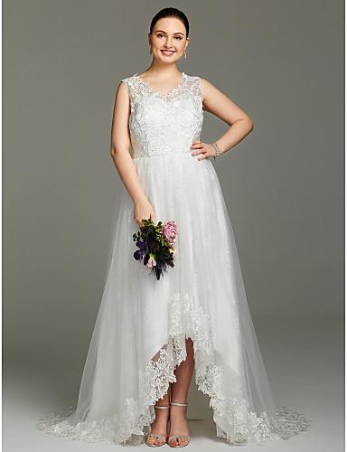 Linha A Decote V Assimétrico Renda Tule Vestidos de noiva personalizados com Apliques de LAN TING BRIDE®
