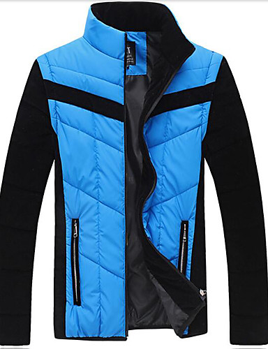 Men's Regular Padded Coat,Simple Daily Solid-Others Polyester Long Sleeves